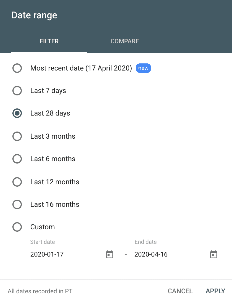 change date range search console