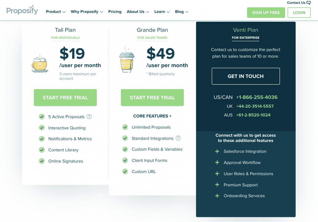 proposify pricing